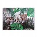 Pintura Leopardo con hojas en lienzo rectangular