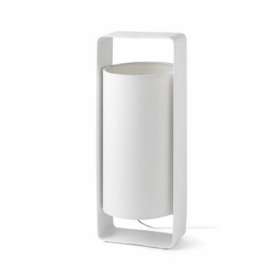 Sobremesa Lula G blanca pantalla textil cilíndrica y metal blanco