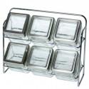 Set seis especieros cristal transparente con soporte metal cromo