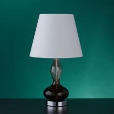 Lámpara de mesa Endorse cristal ahumado con pantalla blanca