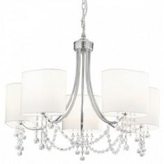 Lámpara techo Nina cinco luces en cromo con cristales y pantallas blancas