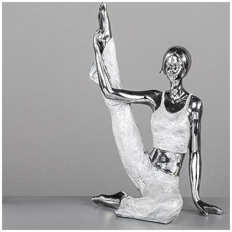 comprar figura chica estiramientos yoga en plata y n car blanco. Black Bedroom Furniture Sets. Home Design Ideas