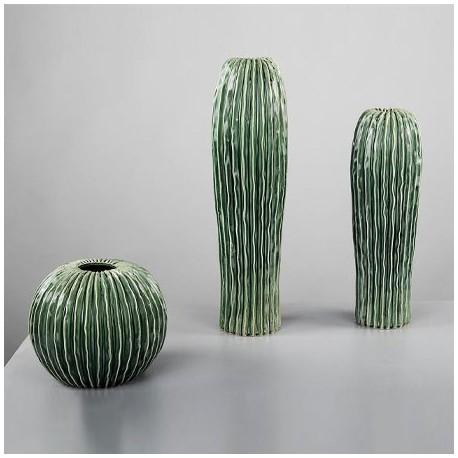 set jarrones decorativos madagascar verdes en cermica con relieve - Jarrones Decorativos