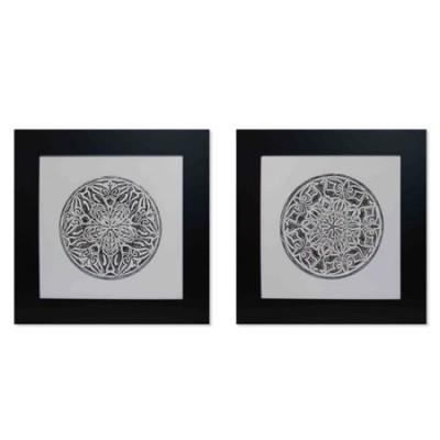 Set cuadros decoración mandala en blanco y negro con marco en negro