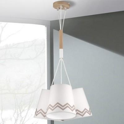 Lámpara juvenil ZigZag tres luces en blanco y madera