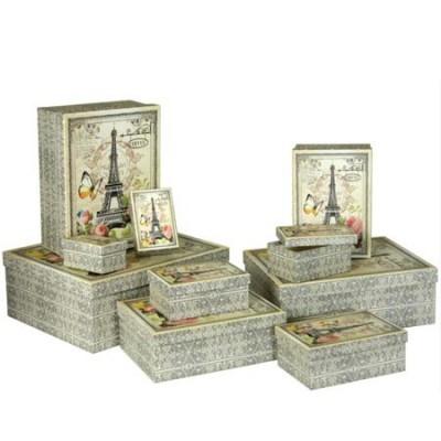 Set diez cajas decorativas vintage distintos tamaños