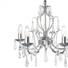 Chandelier Martina cinco luces en cromo con lágrimas en cristal