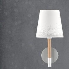 Lámpara infantil de pared Nieve en blanco, gris y madera