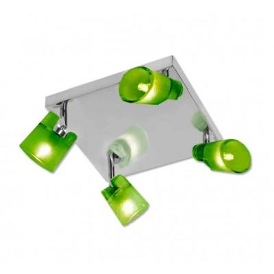 Plafón de cuatro luces en color cromo y cristal verde