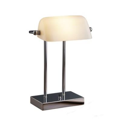 Lámpara de mesa Bankers cromo tulipa cristal blanco orientable