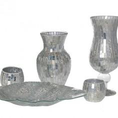 Set decoración cristal espejo brillo jarrones, portavelas y centro