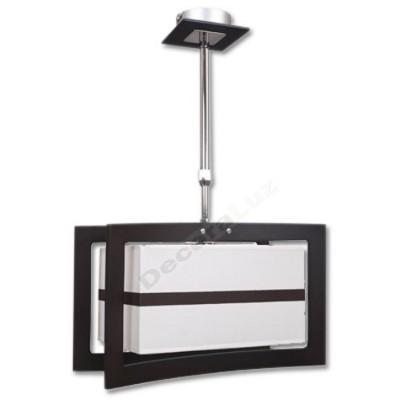 Lámpara cromo wengué estilo moderno pantalla blanca