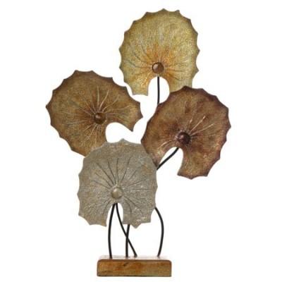 Figura sobremesa Hojas madera dorado, plata y cobre