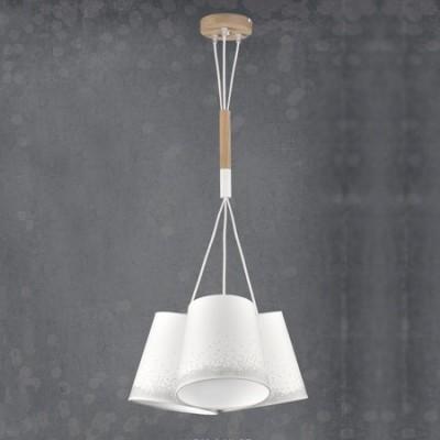 Lámpara techo juvenil Nieve tres luces pantallas blanco y gris con madera