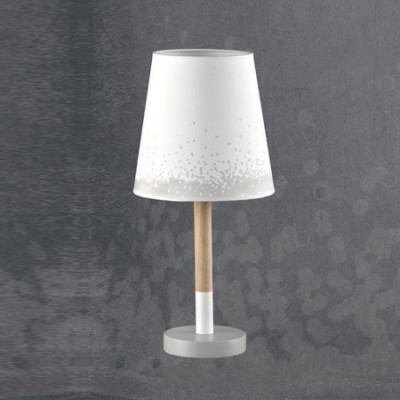 Lámpara de mesa juvenil Nieve en blanco y madera detalles en gris