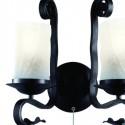Lámpara pared Scroll forja negro rústico dos luces tulipas cristal craquelado
