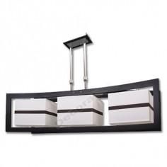 Lámpara cromada moderna wengué 3 pantallas blancas
