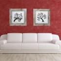 Juego cuadros Árbol marrón relieve marco rozado
