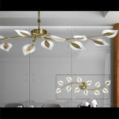 Lámpara Toscana LED doce luces metal cuero telescópica