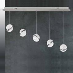 Lámpara LED Mónaco lineal cromo cinco luces en cristal