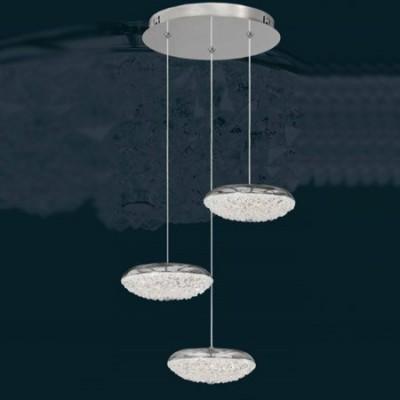 Lámpara techo Roma LED tres luces en cromo y cristal