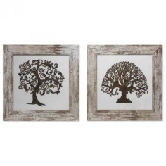 Set dos cuadros Árboles relieve con marco en madera rozada