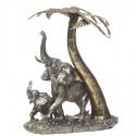 Figura elefantes con palmera en plata y dorado