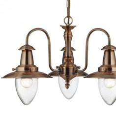 Lámpara Fisherman techo tres luces en metal cobre