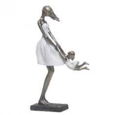Figura Madre e hija decoración en plata envejecida y blanco