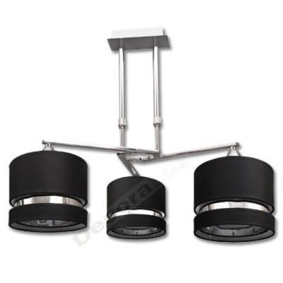 Lámpara estilo actual Caspio tres pantallas negro linea cromo