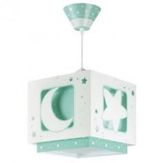 Lámpara infantil Moonlight verde y blanco con lunas y estrellas