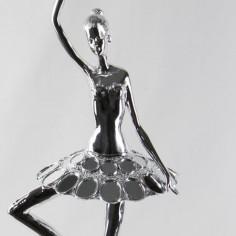 Figura bailarina grande en plata con cristales espejo