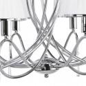 Lámpara Simplicity cromo ocho luces pantallas blancas con cristales