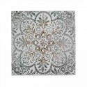 Cuadro decorativo medallón Mandala en plata y blanco