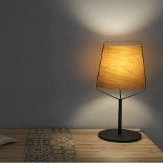 Lámpara de sobremesa Stood metal con pantalla en madera