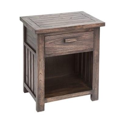 Mesa de noche Antalia colonial madera oscura con un cajón
