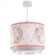 Lámpara infantil colgante Sweet Dance bailarinas rosa, blanco y gris