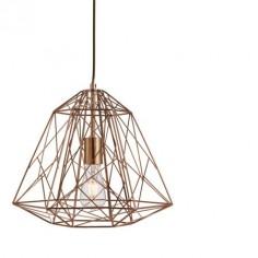 Lámpara colgante industrial Geometric Cage metal cobre