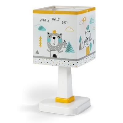 Lámpara infantil sobremesa Hello Little animales en blanco, amarillo y gris