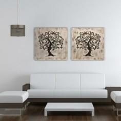 Set dos cuadros Árboles tallados dorados con fondo brocheado canela