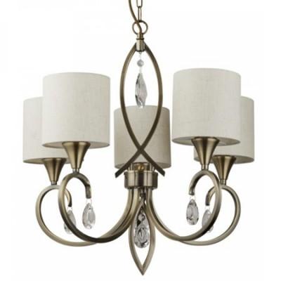 Lámpara clásica Alberto cinco luces en cuero con cristales y pantallas beige