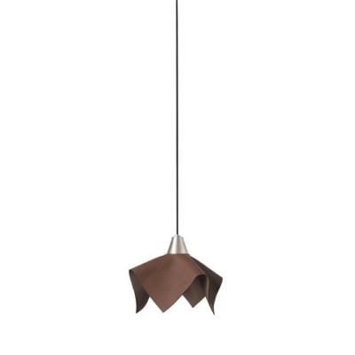 Lámpara de techo colgante LED Fauna pantalla piel marrón