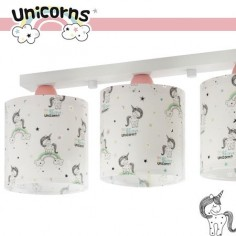 Lámpara Unicorns infantil tres luces con unicornios y arcoíris con purpurina