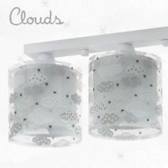 Lámpara infantil techo Clouds tres luces gris con nubes