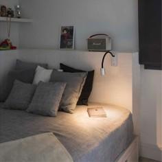 Lector LED de pared Leser en níquel satinado y negro