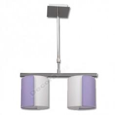 Lámpara moderna pantallas dos colores lila blanco 2 luces