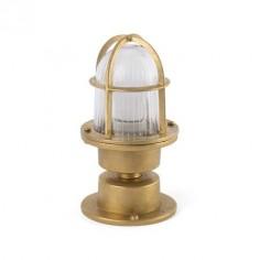 Lámpara sobremuro plafón exterior Mauren metal latón y cristal