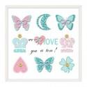 Cuadros infantiles Mariposas colores en lienzo con marco