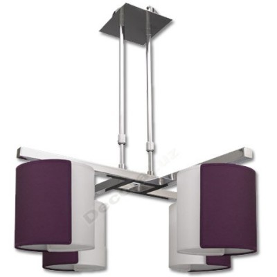 Lámpara cromada 4 pantallas 2 colores berenjena blanco
