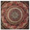 Lienzo decorativo Rosetón mandala rojo y oro cenefa